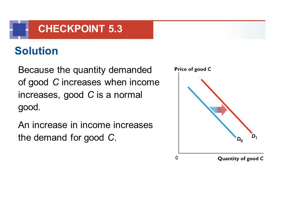 CHECKPOINT 5.3 Solution. Because the quantity demanded of good C increases when income increases, good C is a normal good.