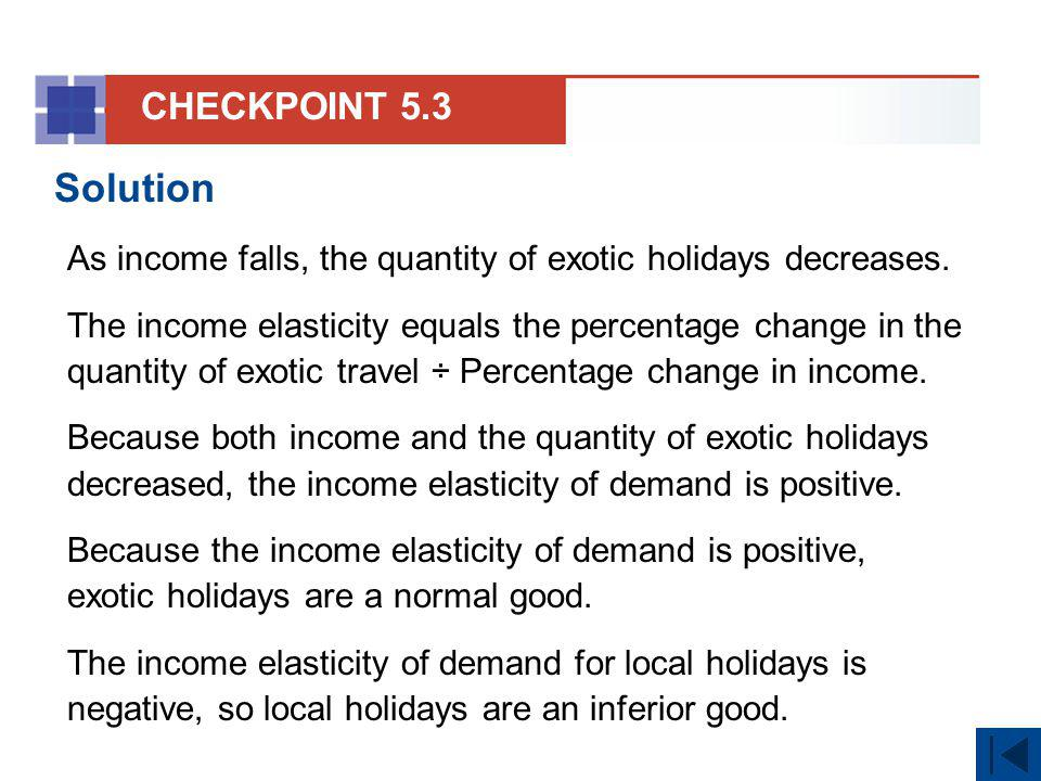 CHECKPOINT 5.3 Solution. As income falls, the quantity of exotic holidays decreases.
