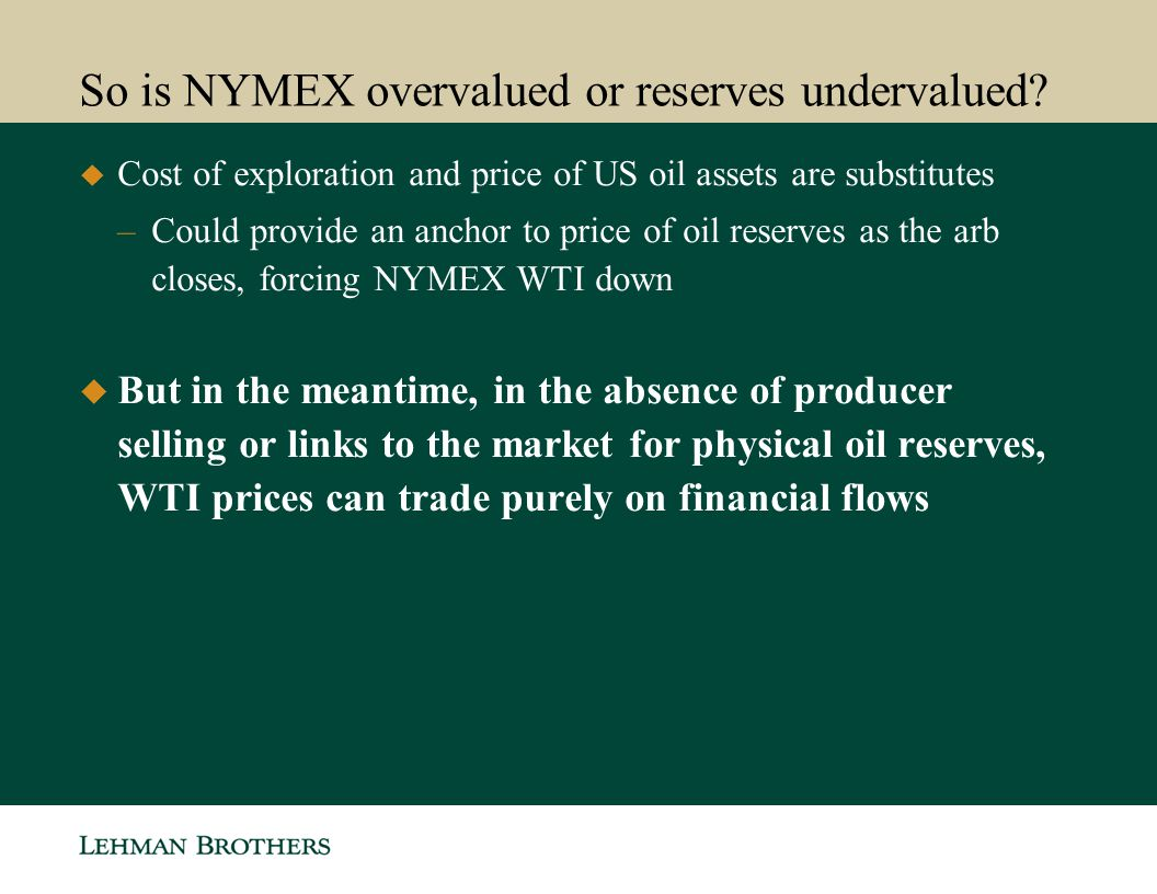 So is NYMEX overvalued or reserves undervalued