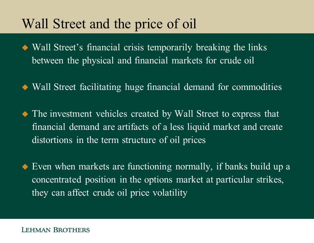 Wall Street and the price of oil