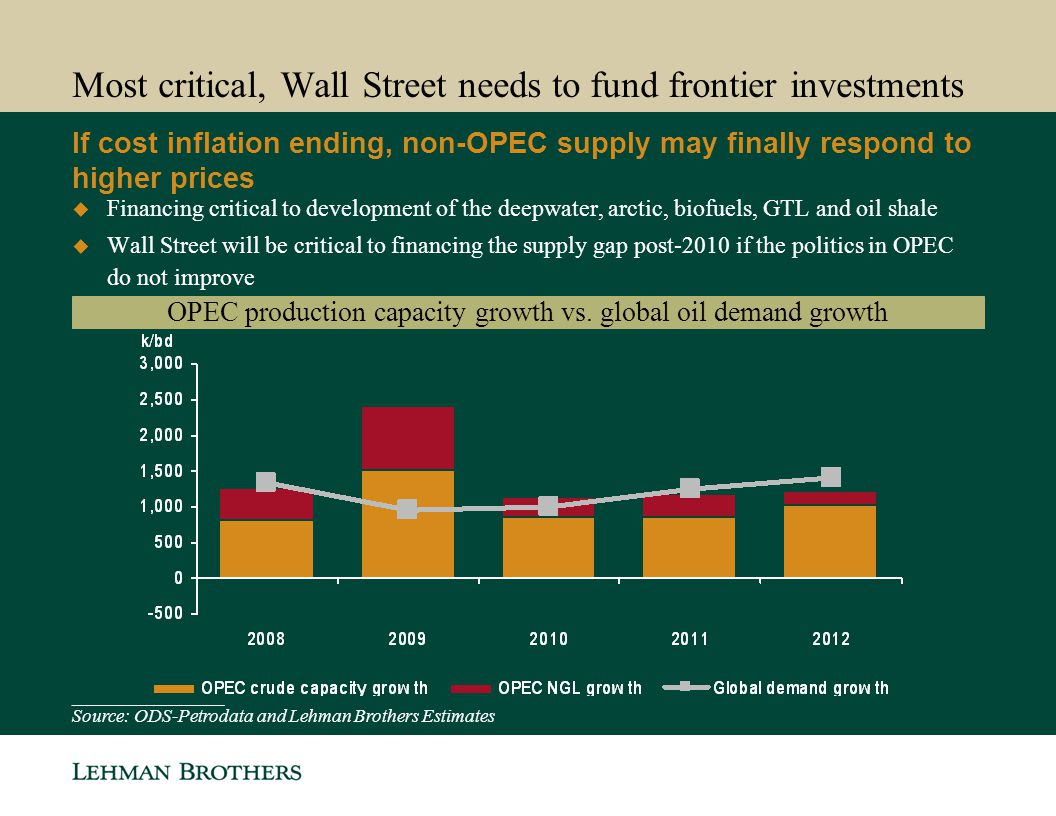 Most critical, Wall Street needs to fund frontier investments