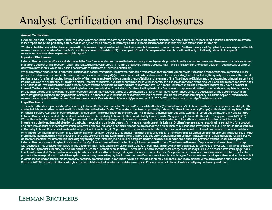 Analyst Certification and Disclosures