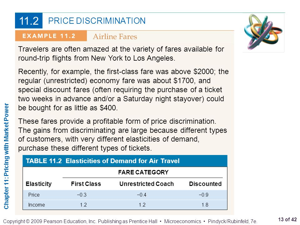 11.2 PRICE DISCRIMINATION. Travelers are often amazed at the variety of fares available for round-trip flights from New York to Los Angeles.