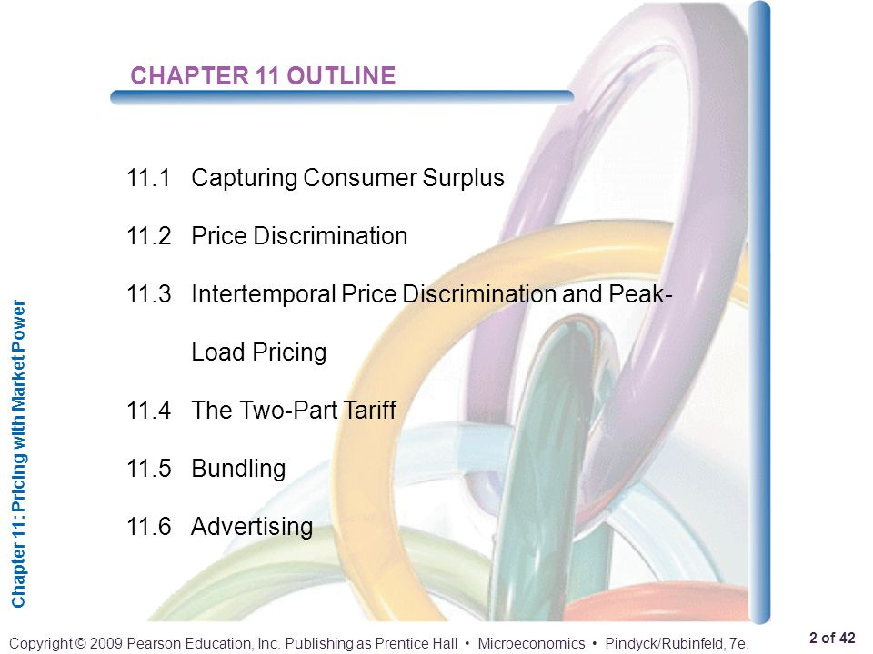 CHAPTER 11 OUTLINE 11.1 Capturing Consumer Surplus. 11.2 Price Discrimination. 11.3 Intertemporal Price Discrimination and Peak-Load Pricing.