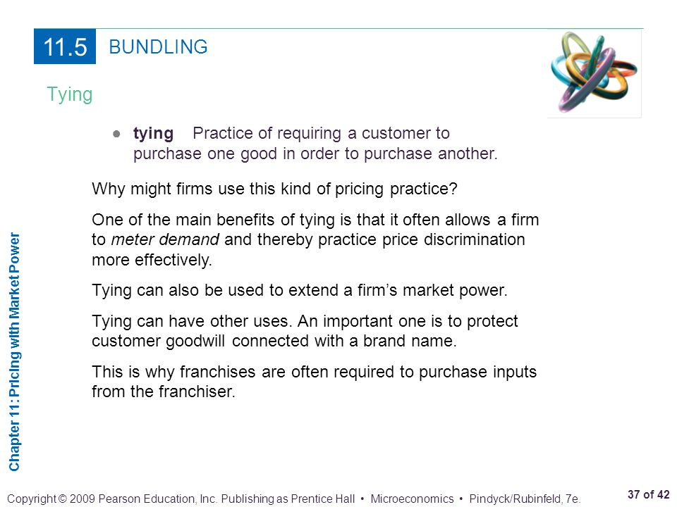 11.5 BUNDLING. Tying. ● tying Practice of requiring a customer to purchase one good in order to purchase another.