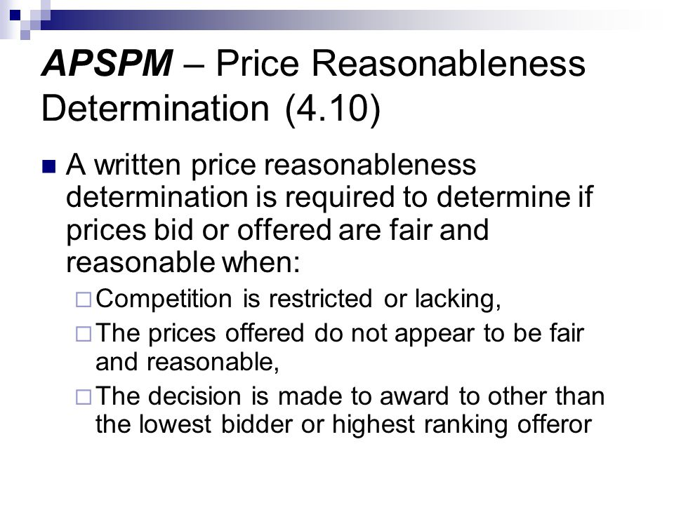APSPM – Price Reasonableness Determination (4.10)