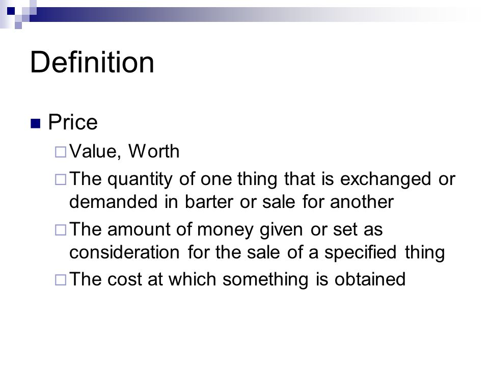 Definition Price Value, Worth