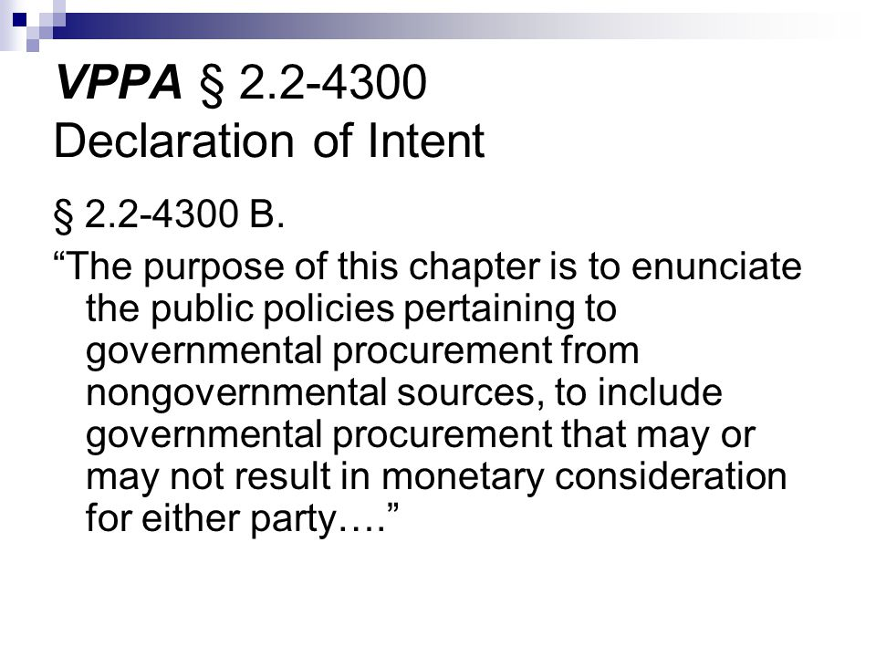 VPPA § 2.2-4300 Declaration of Intent