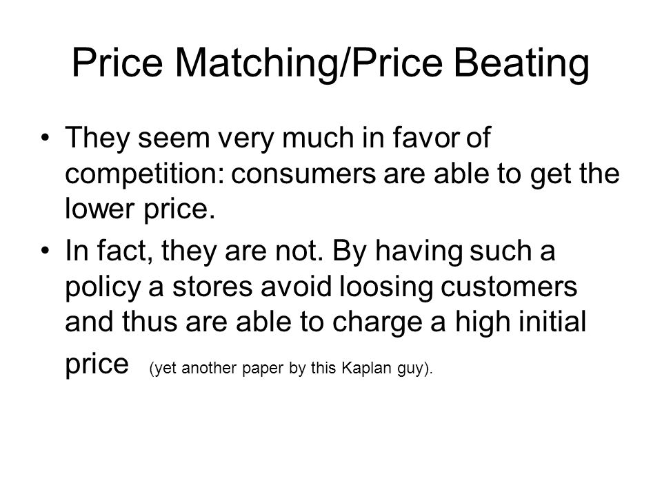 Price Matching/Price Beating