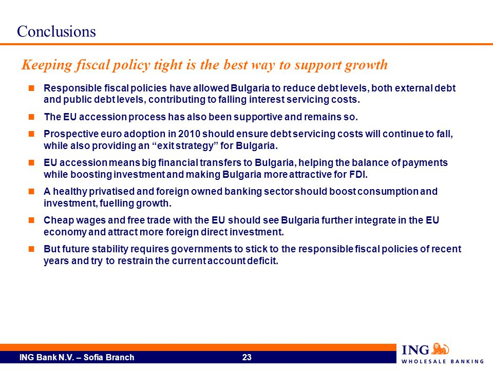 Conclusions Keeping fiscal policy tight is the best way to support growth.