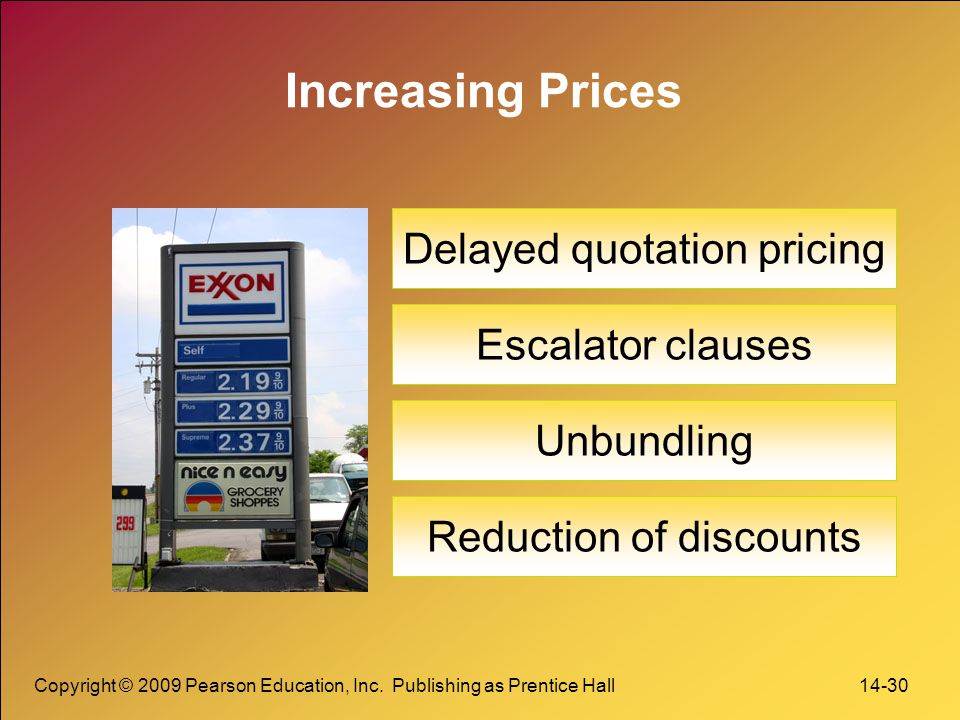 Increasing Prices Delayed quotation pricing Escalator clauses