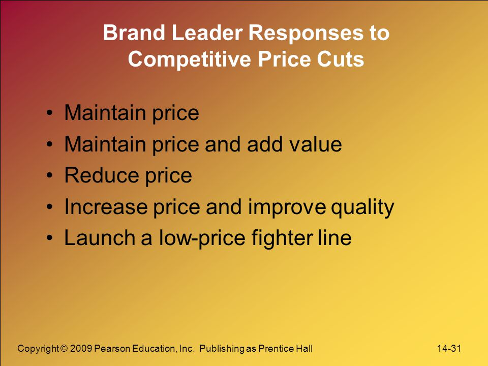 Brand Leader Responses to Competitive Price Cuts