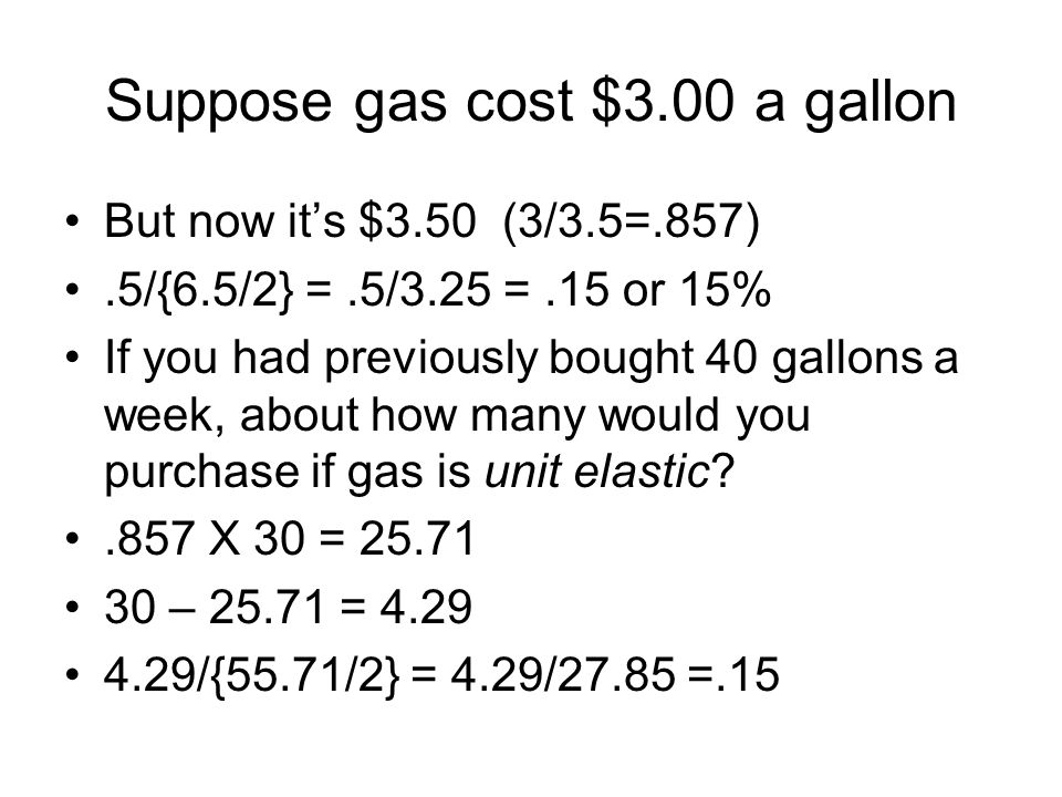 Suppose gas cost $3.00 a gallon