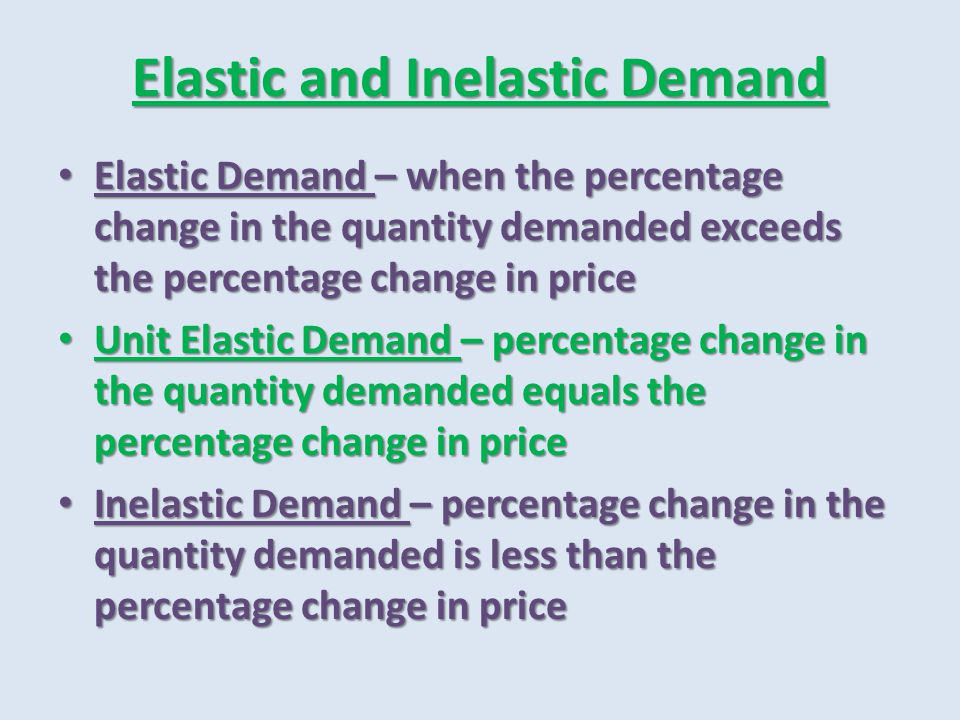 Elastic and Inelastic Demand