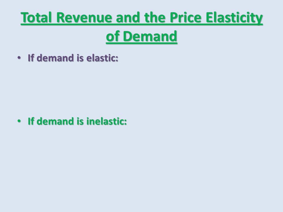 Total Revenue and the Price Elasticity of Demand