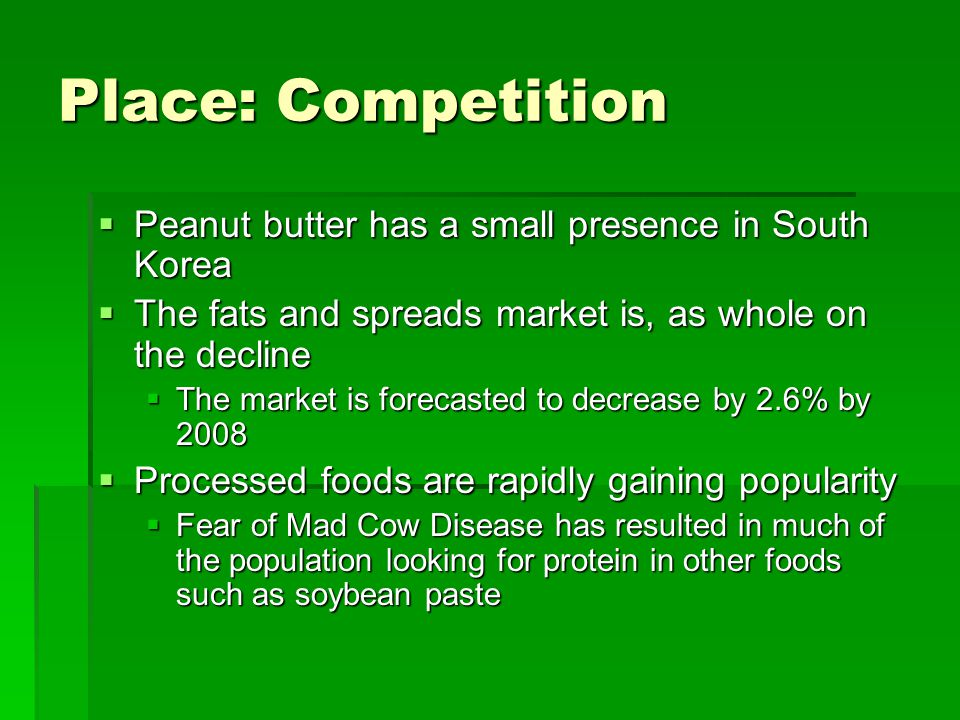 Place: Competition Peanut butter has a small presence in South Korea