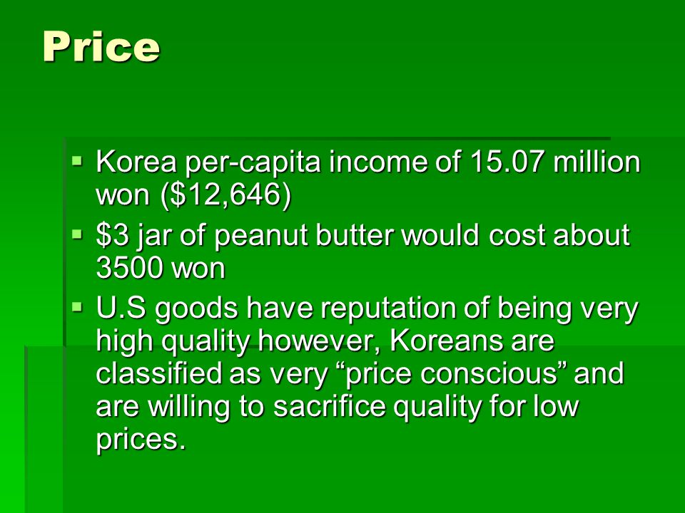Price Korea per-capita income of 15.07 million won ($12,646)