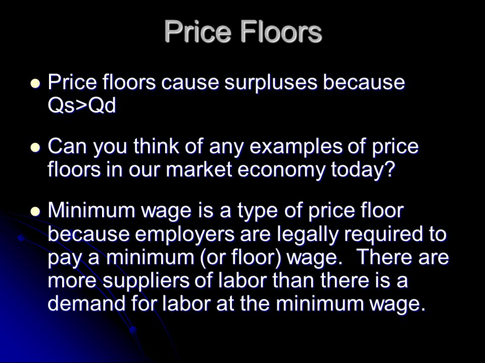 Price Floors Price floors cause surpluses because Qs>Qd