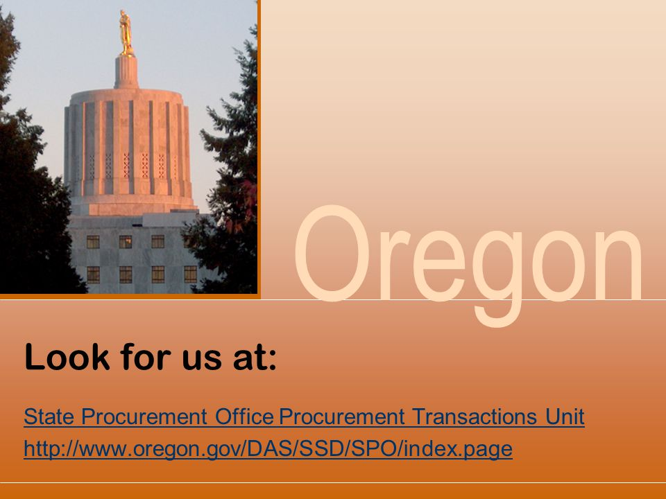 Look for us at: State Procurement Office Procurement Transactions Unit