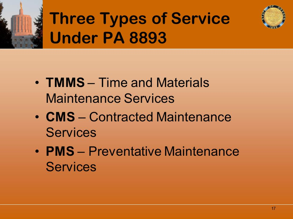 Three Types of Service Under PA 8893