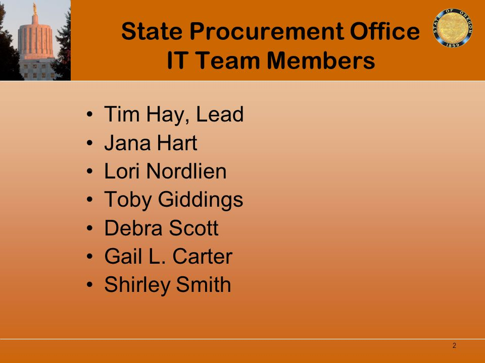 State Procurement Office IT Team Members