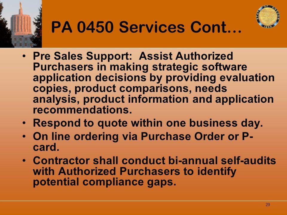 PA 0450 Services Cont…