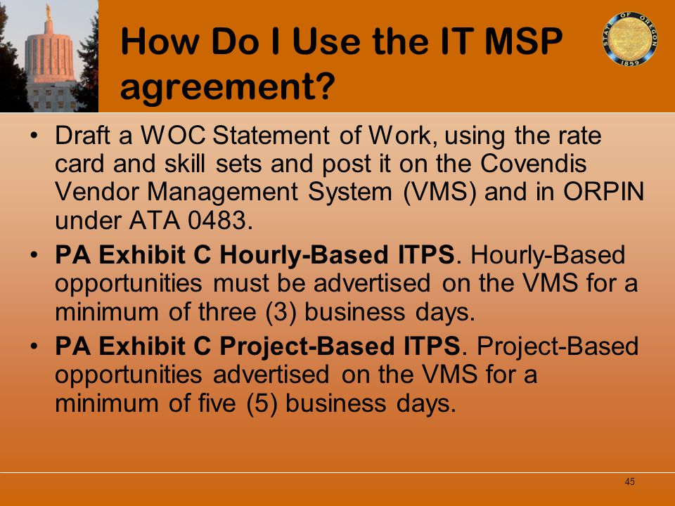 How Do I Use the IT MSP agreement