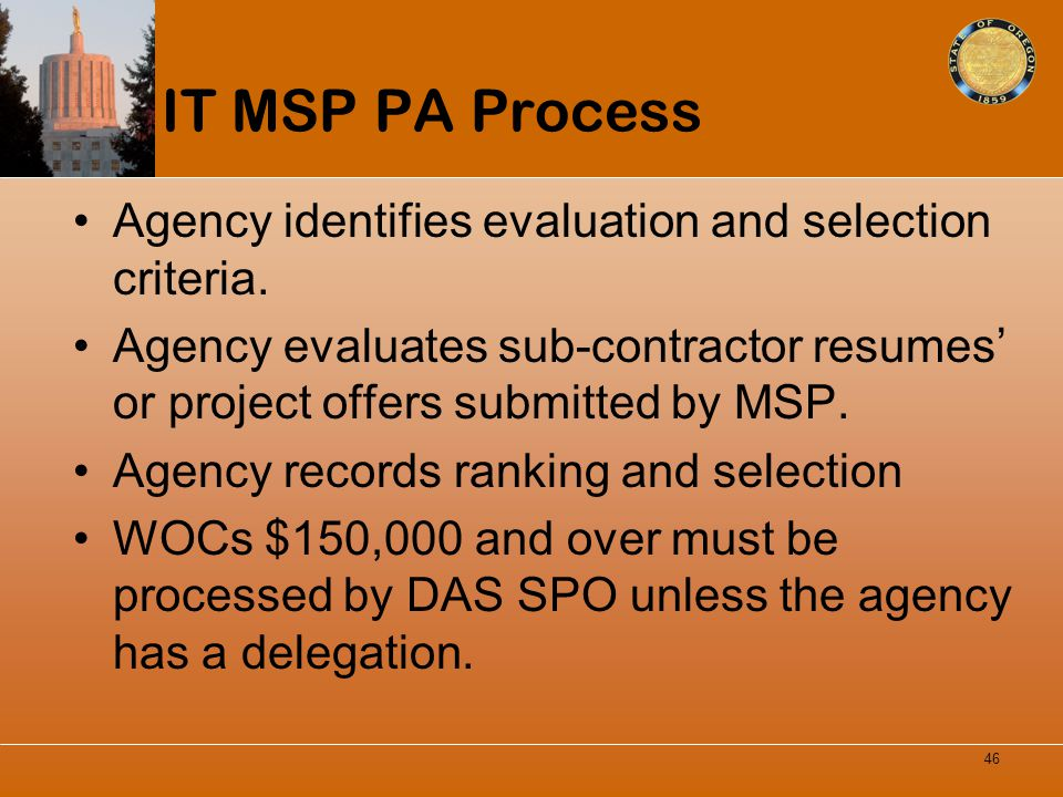 IT MSP PA Process Agency identifies evaluation and selection criteria.