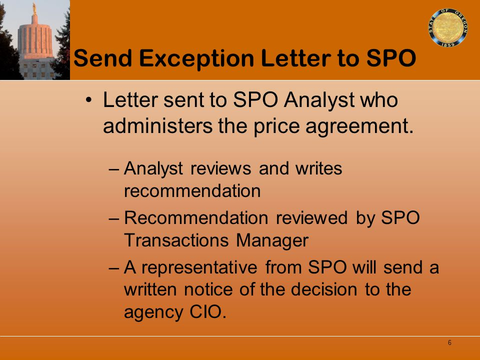 Send Exception Letter to SPO