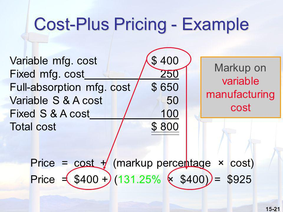 Cost-Plus Pricing - Example