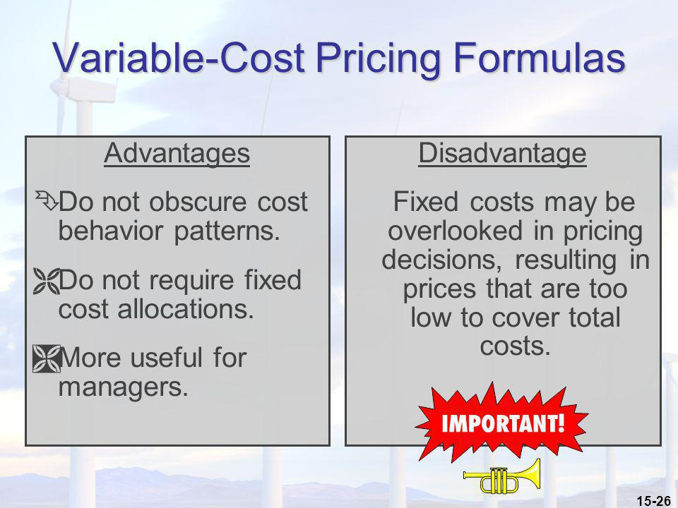 Variable-Cost Pricing Formulas