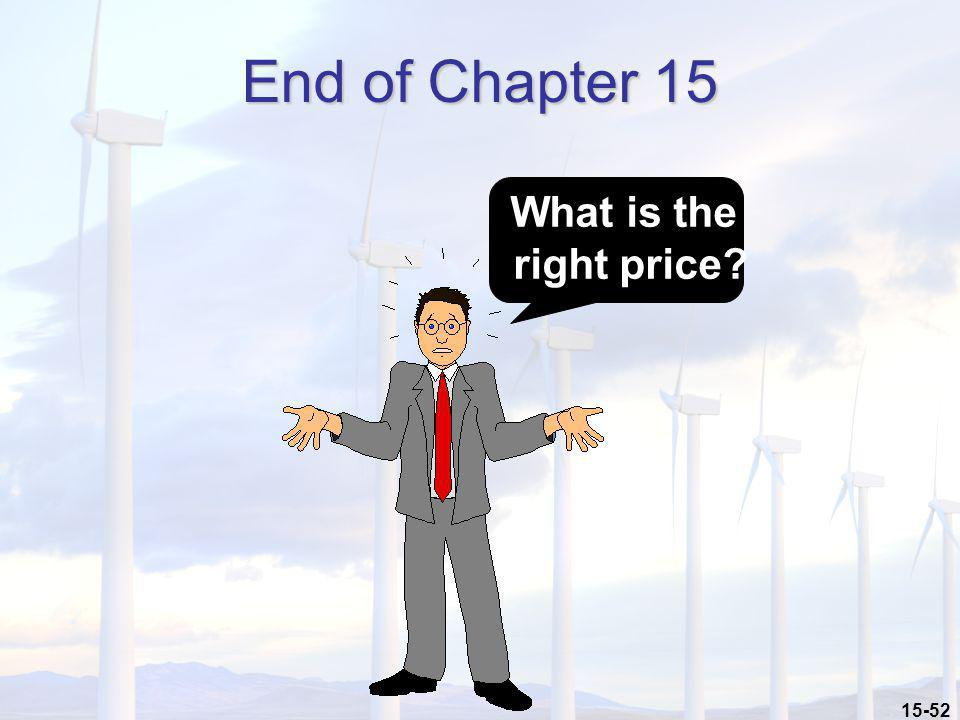 End of Chapter 15 What is the right price