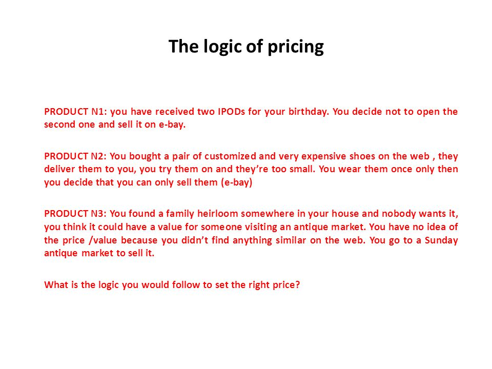 The logic of pricing