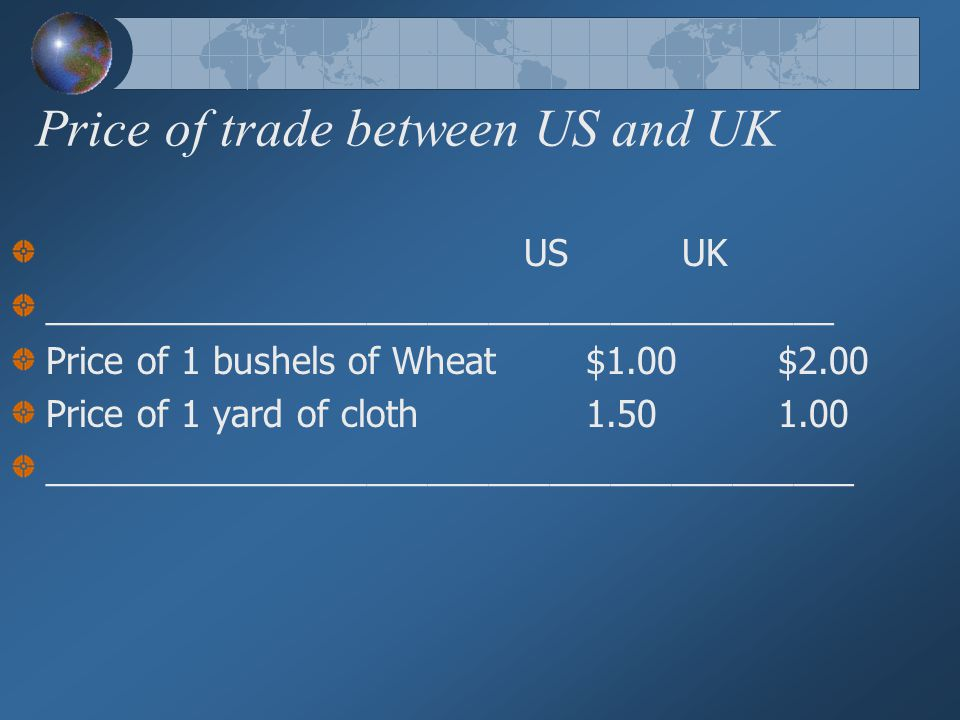 Price of trade between US and UK