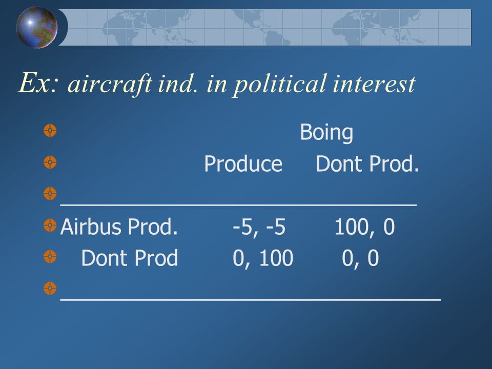 Ex: aircraft ind. in political interest