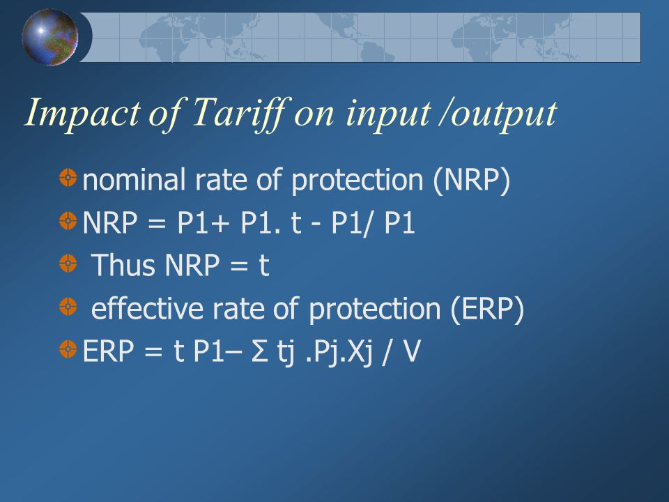 Impact of Tariff on input /output