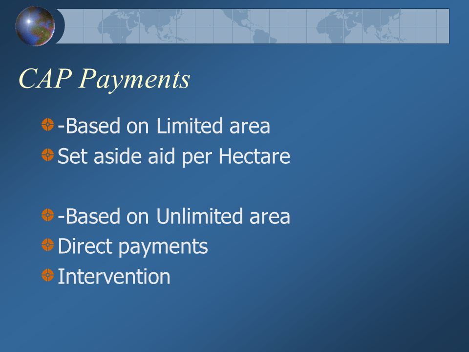 CAP Payments -Based on Limited area Set aside aid per Hectare