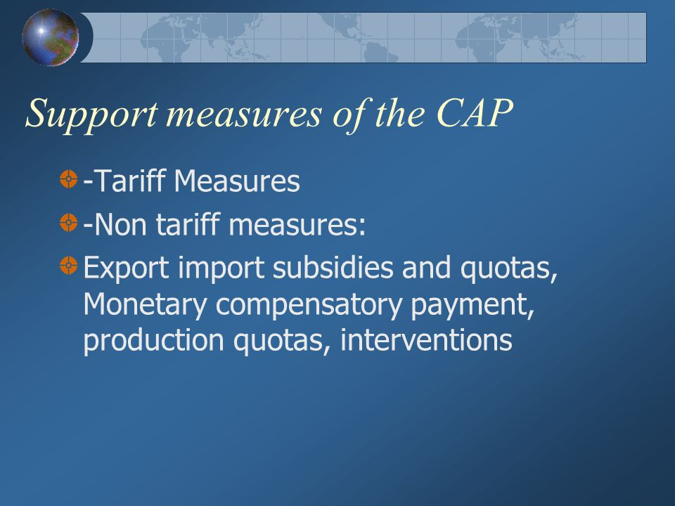 Support measures of the CAP