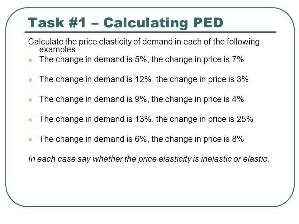 Task #1 – Calculating PED