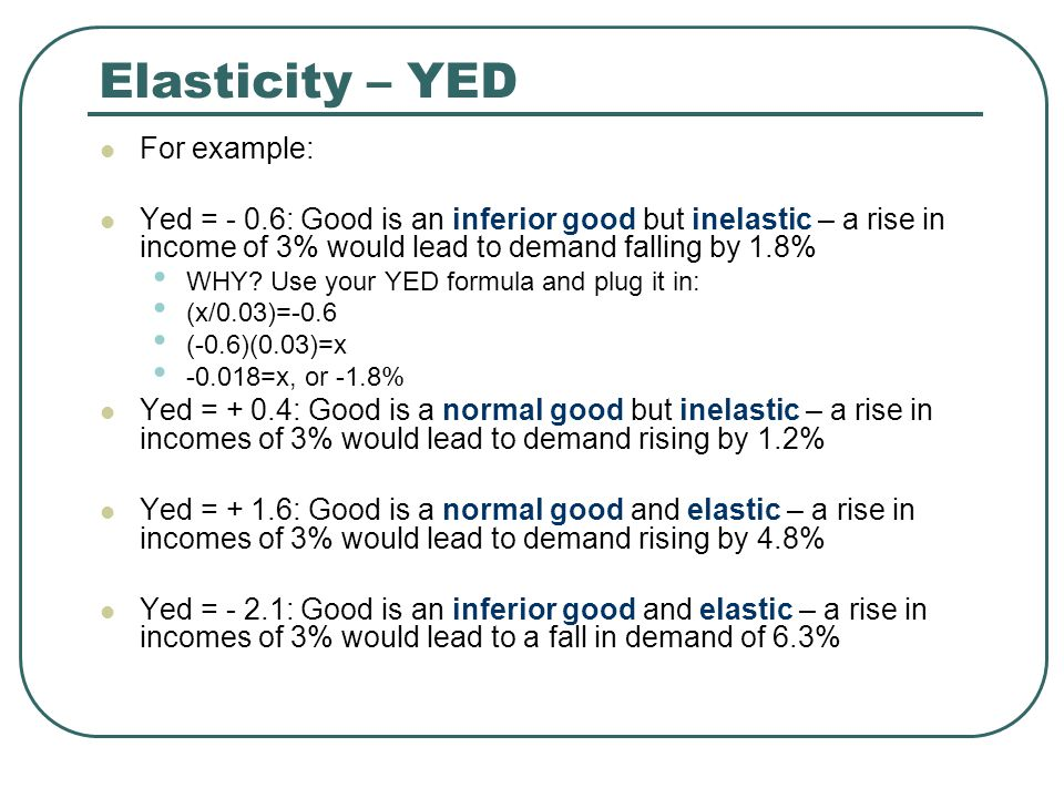Elasticity – YED For example: