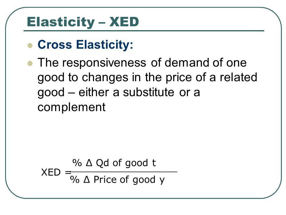 Elasticity – XED Cross Elasticity: