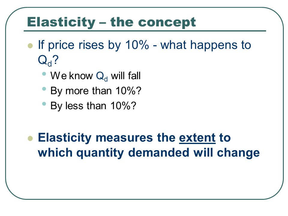 Elasticity – the concept
