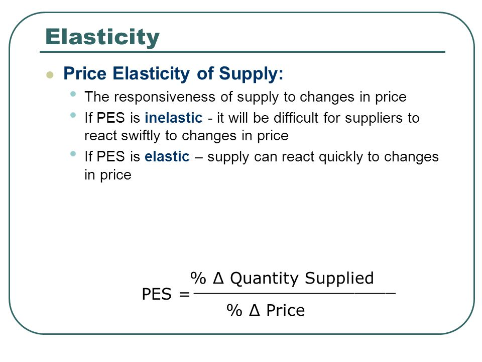 Elasticity Price Elasticity of Supply: % Δ Quantity Supplied