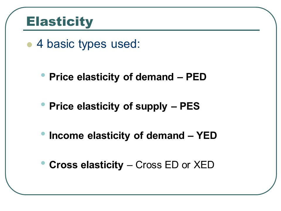 Elasticity 4 basic types used: Price elasticity of demand – PED
