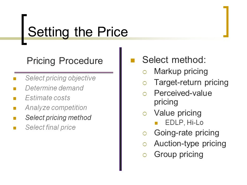 Setting the Price Pricing Procedure Select method: Markup pricing