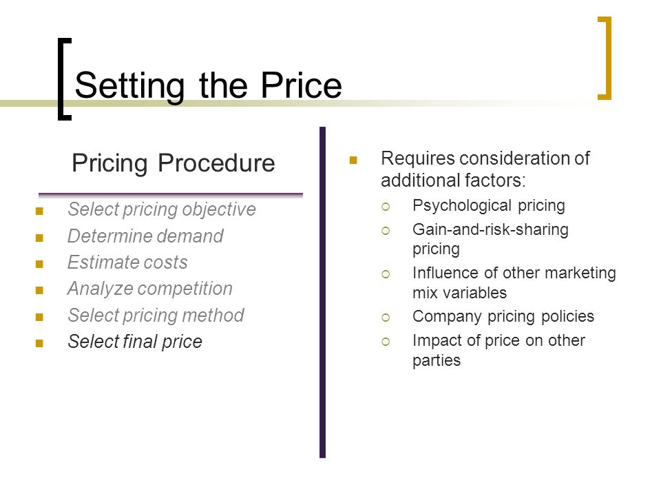 Setting the Price Pricing Procedure