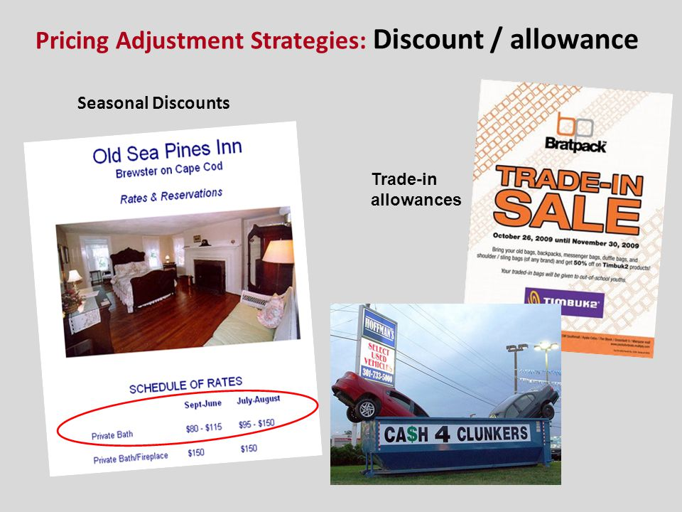 Pricing Adjustment Strategies: Discount / allowance