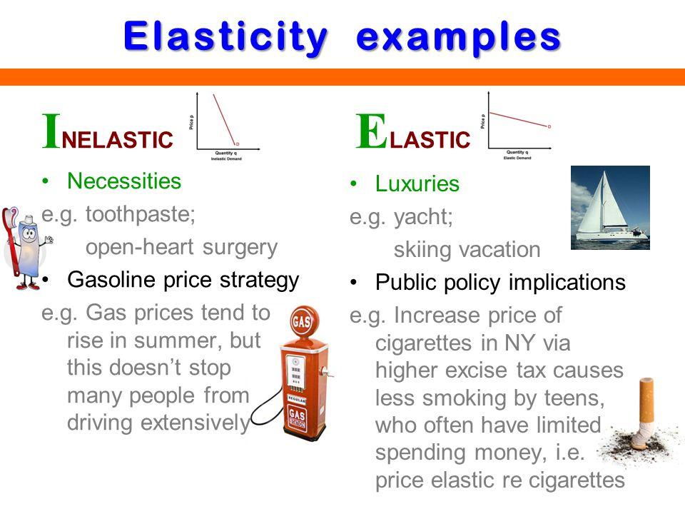 INELASTIC ELASTIC Elasticity examples Necessities Luxuries