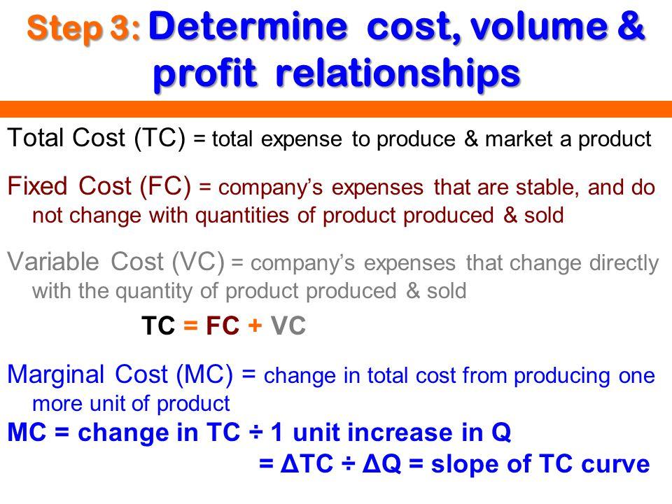Step 3: Determine cost, volume & profit relationships