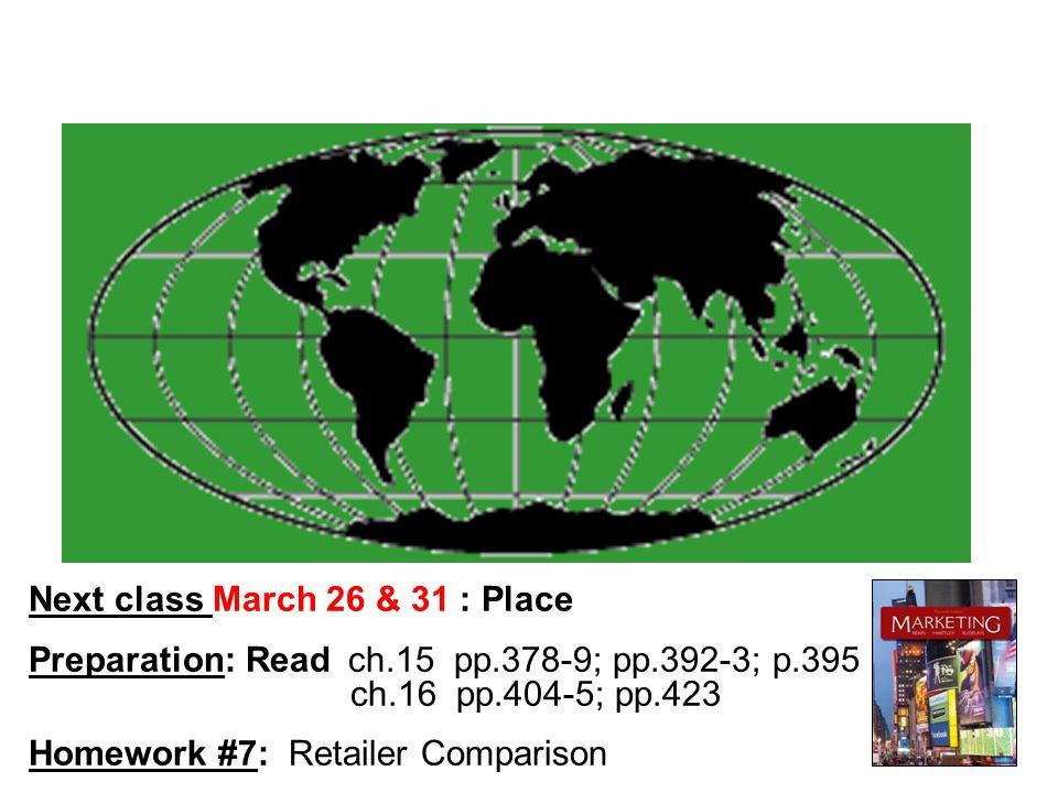 Next class March 26 & 31 : Place